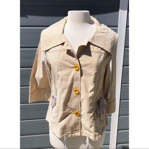 Tulle Seersucker boxy jacket yellow pinstripe